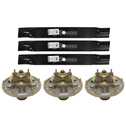 3 Blades And Spindles For John Deere 1550 1570 1575 1580 1585 997 3120 3320 3520