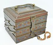 Original Old Antique Fine Inlay Painted Brass 3 Tier Jewellery Box With Lock