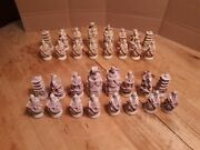 Vintage Chinese Style Figure Chess Pieces Chalkware With Crystal/ Marble Core