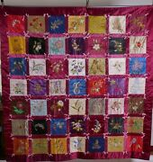 Antique Quilt Embroidered Horses Flowers Fabric Textile Bed Cover Wall Hanging