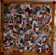 Antique American Large Crazy Quilt Embroidered Flowers Rust Border Dated 1887