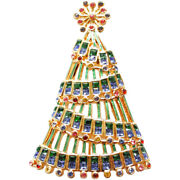 Gold Plated Garland Christmas Tree Brooch With Crystals Ari D Norman