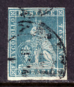 Tuscany, Italian State, 13 2cr Blue, 1857 Imperf, F, Cds