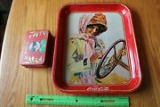Coca Cola Vintage Drink Tray Advertising Tin Woman Driving Car And Playing Cards