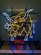New Angry Bull Bbq Beer Man Cave Neon Light Sign 32x24 Glass Artwork Lamp Bar