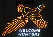 Pheasant Welcome Hunters Beer Neon Light Sign 32x24 Glass Artwork