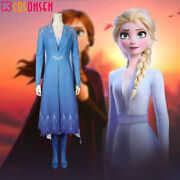 Frozen 2 Elsa Queen Cosplay Costume Blue Snow Outfit Dress Halloween Outfits