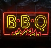 New Bbq Flames Neon Light Sign 24x20 Lamp Poster Real Glass Beer Bar