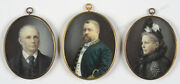 Danish High-ranking Official And His Parents 3 Fine Miniatureslate 19th C.