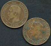 France 1856 And039aand039 And 1865 And039aand039 10 Centimes Coins