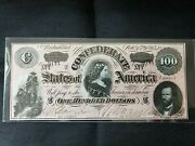1864 100 Us Confederate States Of America Currency Old Us Paper Money Gem
