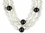 White Cultured Keshi Freshwater Pearl And Black Chalcedony S/silver 18 Necklace