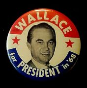 Wallace For President In And03968 Presidential Campaign Button/pin Super Size 3.5