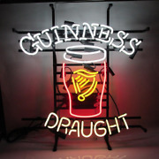 New Guinness Draught Harp Neon Sign 24x20 Lamp Poster Real Glass Beer Bar