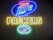 New Green Bay Packers Miller Lite Neon Light Sign 24x20 Lamp Poster Real Glass
