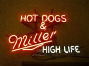 New Hot Dogs Miller High Life Neon Sign 24x20 Lamp Poster Real Glass