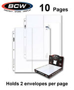 10 Bcw 2 Pocket Pages For 4x10 Envelopes Fdc For All 3 Rings Binders Albums