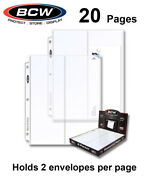 20 Bcw 2 Pocket Pages For 4x10 Envelopes Size 10 Fdc Cover For 3 Rings Album New