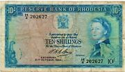Rhodesia 10 Shilling Banknote 1964 Queen Elizabeth Ii As Pictured Rare Note P24