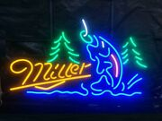 New Miller Fishing Neon Light Sign 24x20 Lamp Poster Real Glass Beer Bar