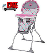 Girls High Chair Minnie Mouse Baby Feeding Folding Seat Lightweight Comfortable