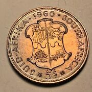 1960 South Africa 5 Shillings Beautiful Silver Color Toned Coin 1