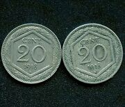 Italy 2 Of 1918 And039rand039 20 Centesimi Coins Shield Type - Very Light Reeded Edge