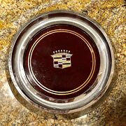 1 Used 1980-81 Cadillac Deville Fleetwood Hubcap Center Burgundy And Trim Ring