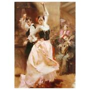 Pino Dancing In Barcelona Pp Artist Embellished Limited Edition Canvas Coa