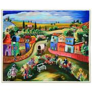 Shlomo Alter Busy Day In The Country Signed Limited Edition Serigraph On Paper