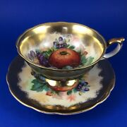 Sa China Oranges And Grapes Porcelain Tea Cup And Saucer - Occupied Japan