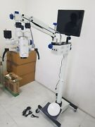 5 Step Ent Floor Stand Microscope With Accessories And Led Monitor - White Color