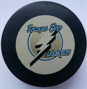 Tampa Bay Lightning Nhl Inglasco Puck Made In Czechoslovakia On Side Canada Side