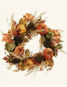Victorian Trading Co Nwot Harvest Wreath Pumpkins Leaves Pinecones 1a