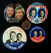 William Bill Clinton And Al Gore Hillary Lot Of 4 Campaign Buttons/pins P27