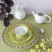 Versace By Rosenthal,germany 25 Years Floralia Green Tea Cup,saucer And Dessert