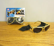 20 Pair Of Gold Rock And Roll Sun Glasses With Sideburns Elvis Sunglasses Costume