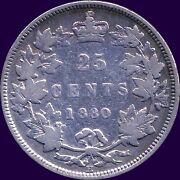 1880 And039hand039 Canada 25 Cent Silver Coin Wide 0 5.81 Grams .925 Silver