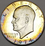 1974-s Eisenhower Ike Silver Dollar Bu Unc Color Toned Coin Must See 98