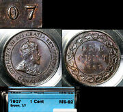 Elite Varieties Canada Large Cent 1907 Repunched 7/7 Rt/lt - Ms62 Rare A449