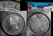 Elite Varieties Canada 10 Cents - 1871 Repunched R/r - Icg Au55 A496