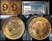 Elite Varieties Canada Large Cent 1899 Repunched 9/9 Pcgs Ms64 A435