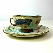 Antique Majolica Cup And Saucer With Asian Fans Motif