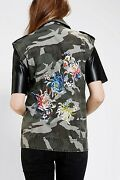 Urban Outfitters Silence Noise Embroidered Floral Green Camo Moto Vest Medium
