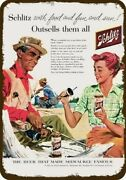1956 Couple Fishing Fish And Drink Schlitz Beer Vintage Look Decorative Metal Sign
