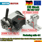 De/eu:4th Rotary Axis 3 Jaw Chuck K11-65mm 41+tailstock For Mini Diy Cnc Router