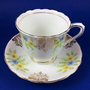 Victoria Cande Blue And Yellow Daisy Bone China Tea Cup And Saucer