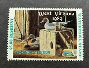 1989 West Virginia - State Duck Stamp - Mint Og Nh Governor Edition Resident