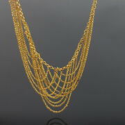 Vintage 14k Yellow Gold Multi Strand Chain Free Form Necklace