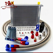 New 30 Row Oil Cooler 10-an10 + Thermostat Sandwich Plate / Adapter Kit Silver